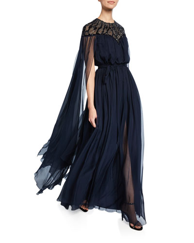 Lace-Wing Long Gown