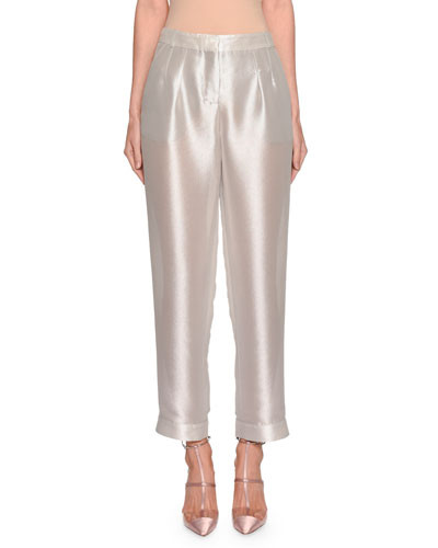 Shimmered Silk Pleated Pants
