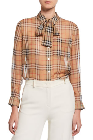 Burberry Vintage Check Chiffon Tie-Neck Shirt