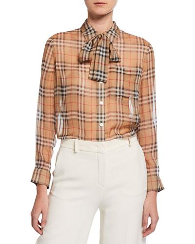 Vintage Check Chiffon Tie-Neck Shirt