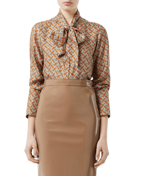 dc139605e44ac Burberry Pussy-Bow Printed Mulberry Silk-Twill Blouse In Orange ...