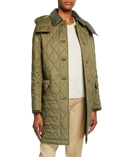 Quilted Knee-Length Coat