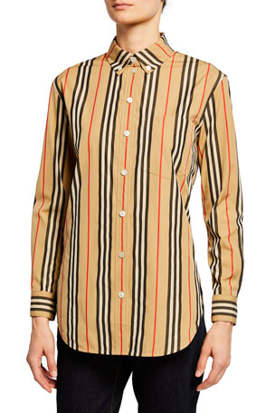 Burberry Guan Long-Sleeve Striped Shirt