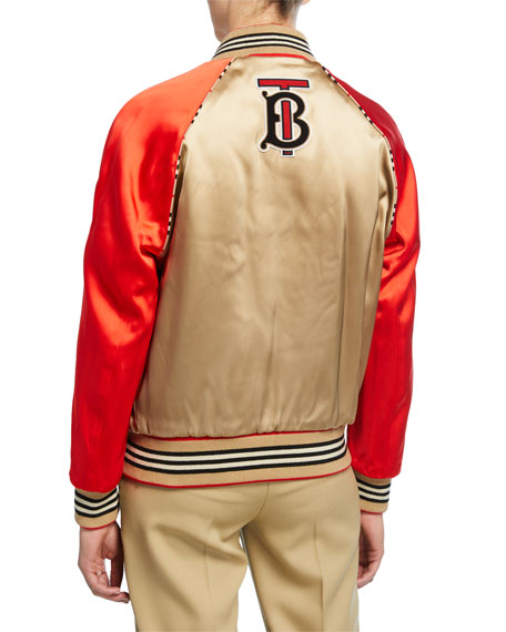 Burberry Icon Stripe Detail Monogram Motif Bomber Jacket