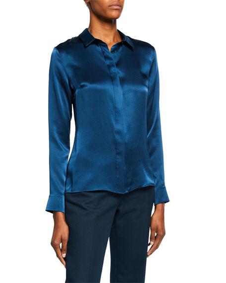 CUSHNIE Long-Sleeve Button-Front Silk Blouse