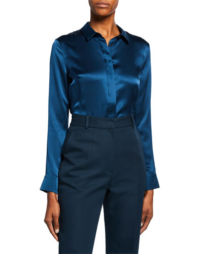 Long-Sleeve Button-Front Silk Blouse