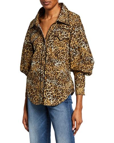 Leopard-Print Poplin Oversize Shirt