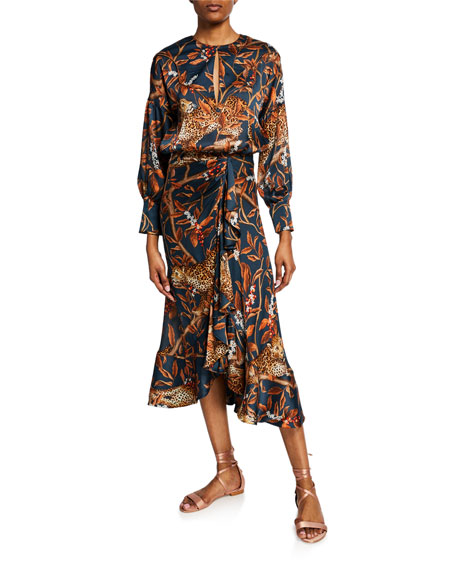 Johanna Ortiz Dresses RUNNING WITH JAGUARS GEORGETTE LONG-SLEEVE CREWNECK DRESS