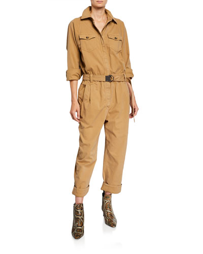 Monili-Belted Aviator Jumpsuit