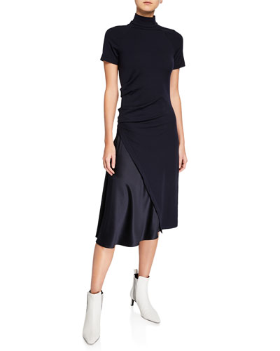 Short-Sleeve Mock Neck Dress