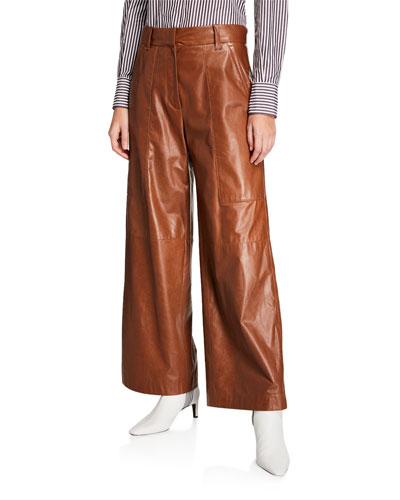 Wide-Leg Leather Pants