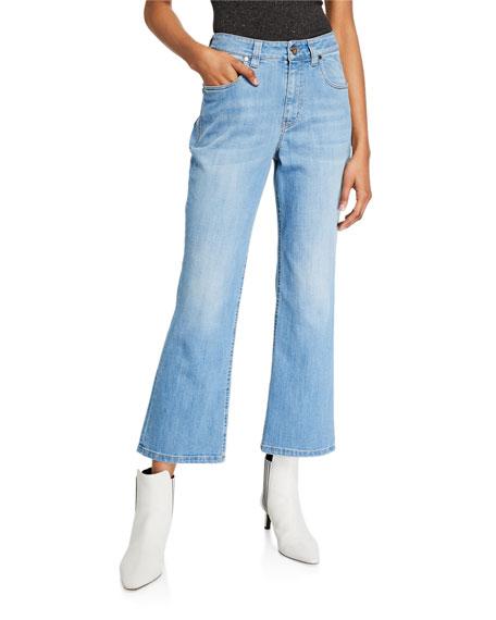 Brunello Cucinelli Flare-Leg Cropped Denim Jeans with Side Trim