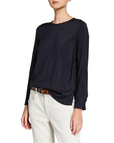Monili-Collar Silk Long-Sleeve Top