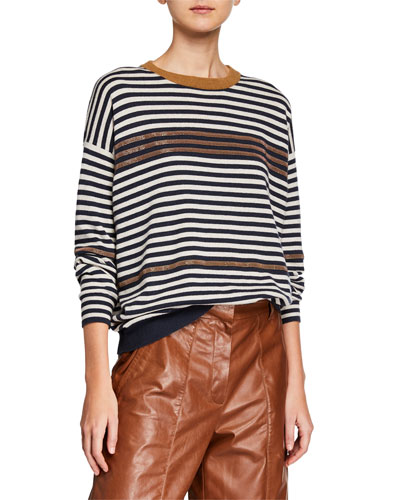 Solomeo Striped Wool/Cashmere Sweater