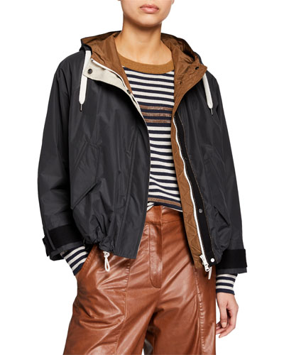 Cropped Taffeta Drawstring-Waist Jacket