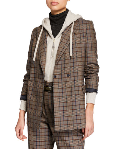 Hidden Button-Front Wool Cotton Jacket
