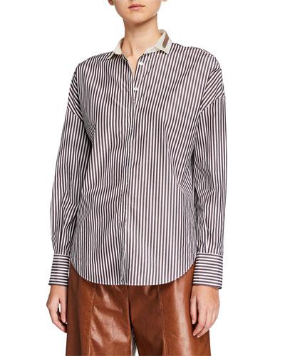 Monili-Collar Striped Button-Front Poplin Shirt