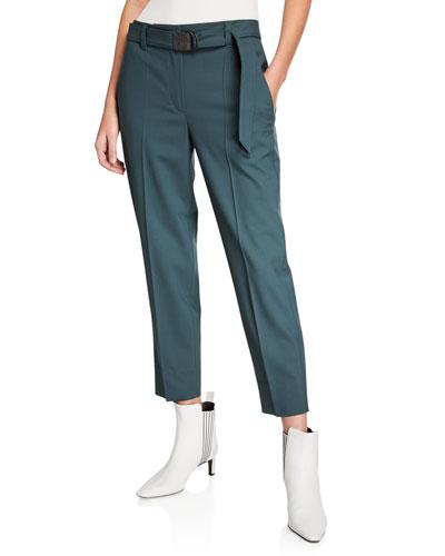 Monili-Beaded Belted Straight-Leg Pants