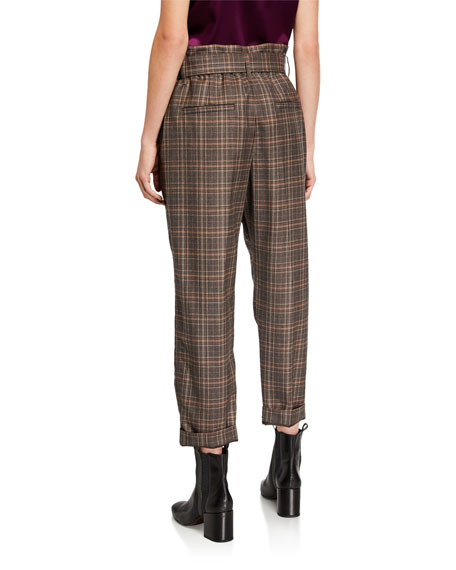 Image 2 of 3: Brunello Cucinelli Belted Plaid-Wool Straight Leg Pants