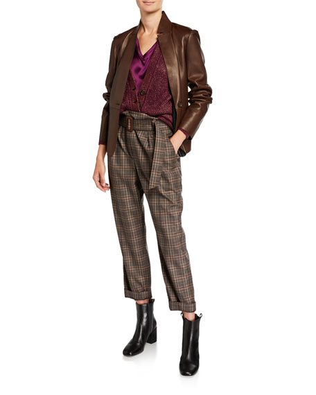 Brunello Cucinelli Belted Plaid-Wool Straight Leg Pants