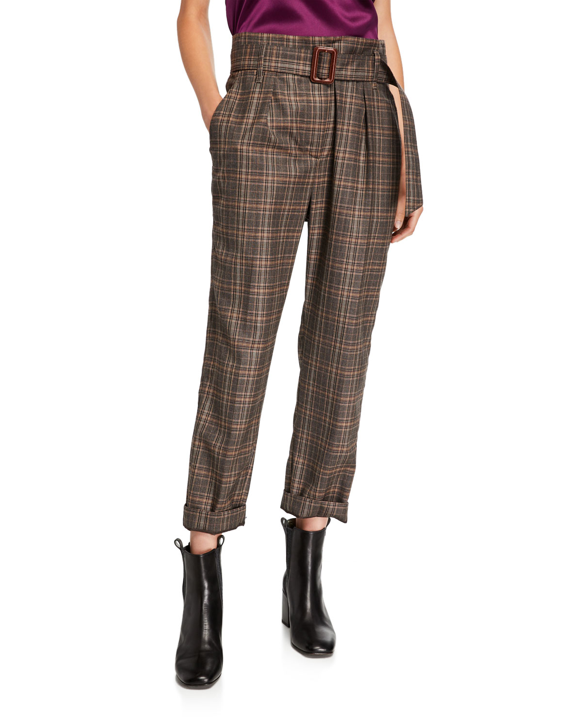 Brunello Cucinelli Belted Plaid-Wool Straight Leg Pants