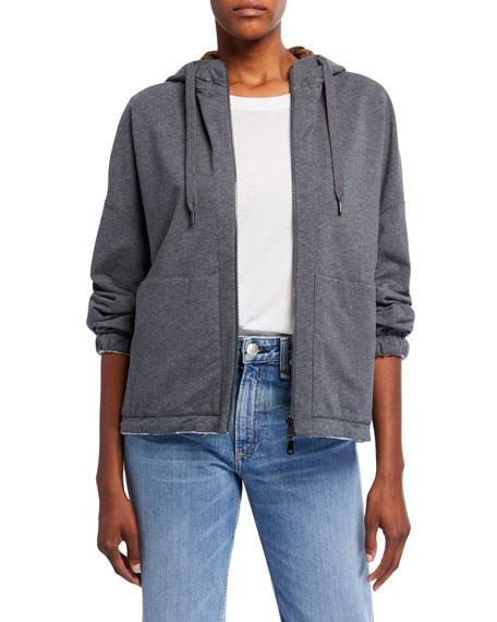 Brunello Cucinelli Taffeta-Lined Sequined Sweatshirt