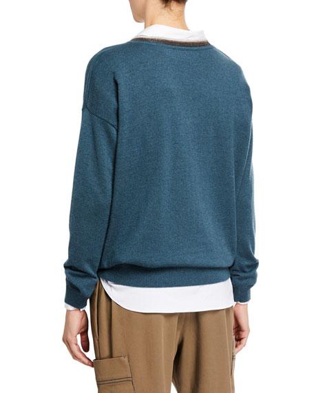 Brunello Cucinelli Cashmere Monili-Beaded V-Neck Sweater