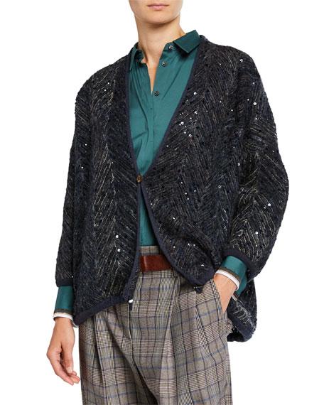 Brunello Cucinelli Sequined Tulle Cardigan Jacket