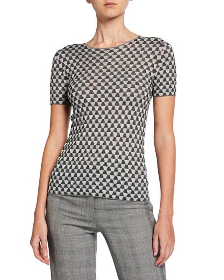 Akris Trapezoid-Ribbed Silk Sweater