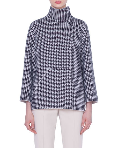 Akris Tops REVERSIBLE CASHMERE HOUNDSTOOTH-JACQUARD MOCK-NECK CARDIGAN