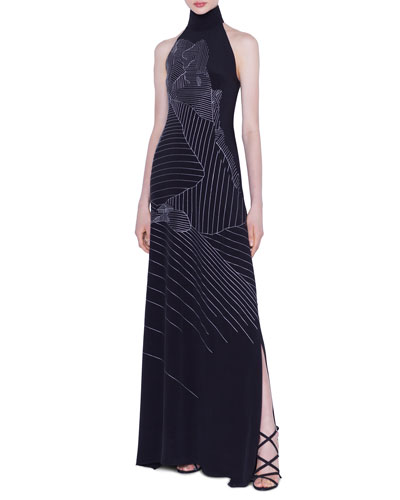 Mountain Embroidered Silk-Crepe Gown