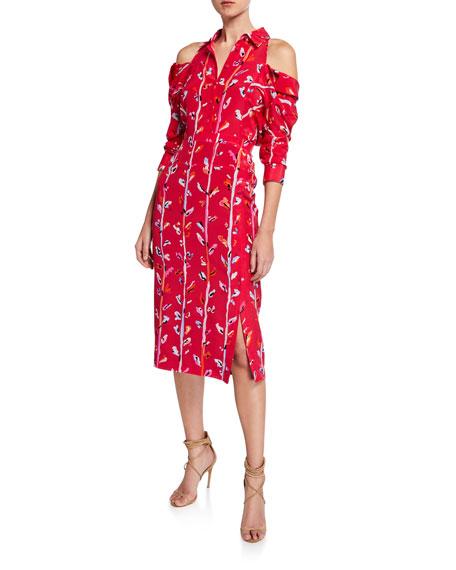Altuzarra Cold-Shoulder Painterly Floral Shirtdress