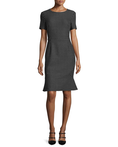 Short-Sleeve Dot-Print Dress  Black