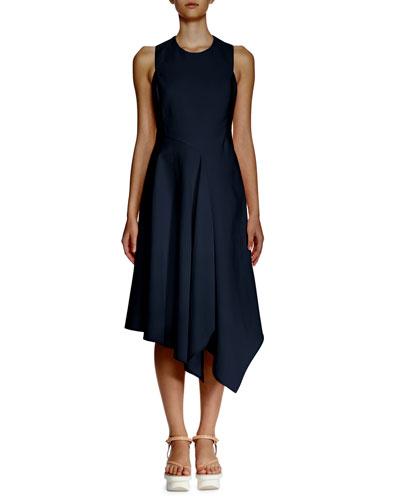 Sleeveless Asymmetric-Hem Dress  Navy