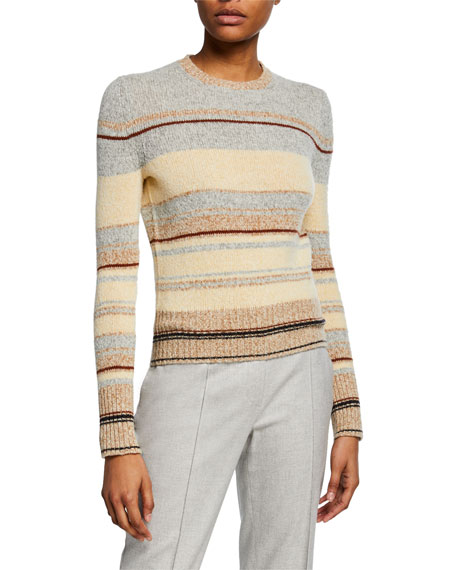 Loro Piana Sweaters STRIPED CREWNECK CROP SWEATER