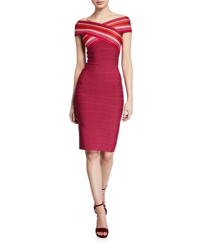 Off-The-Shoulder Strip-Jacquard Dress