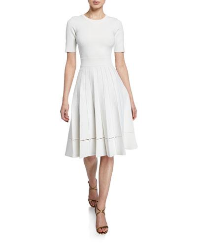3/4-Sleeve Crewneck Pleated Dress