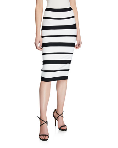 Striped High-Rise Bandage Skirt