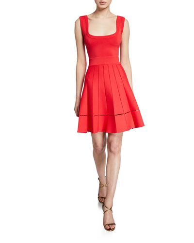 Sleeveless Pleated Fit & Flare Dress