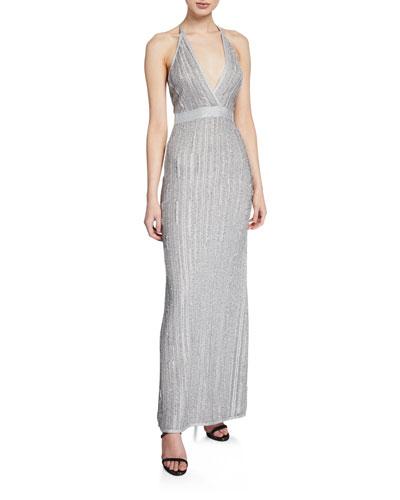 Deep-V Shimmer Gown