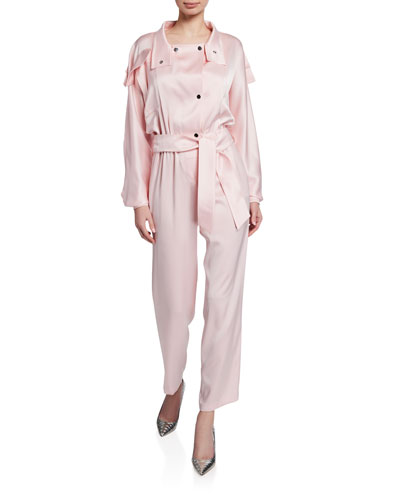 Dallas Utility-Style Satin Jumpsuit