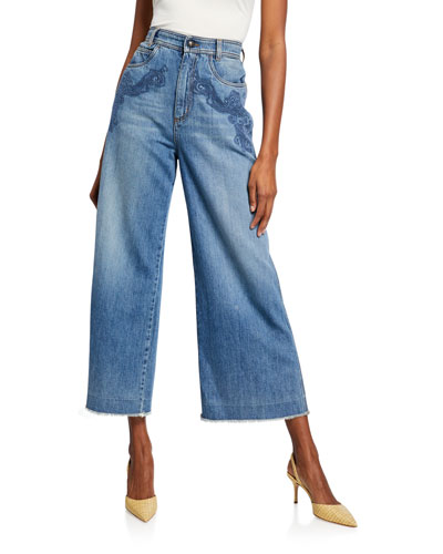 Scroll-Embroidered Wide-Leg Jeans