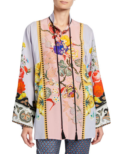 Placed Rose Floral Tie-Neck Tunic