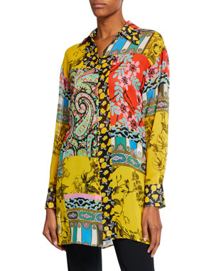 a8eef0baa8f Etro Paisley Collage Chiffon Button-Front Tunic