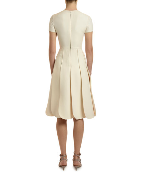 Valentino Short-Sleeve Crepe Couture Petal Dress
