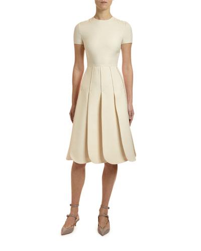 Short-Sleeve Crepe Couture Petal Dress