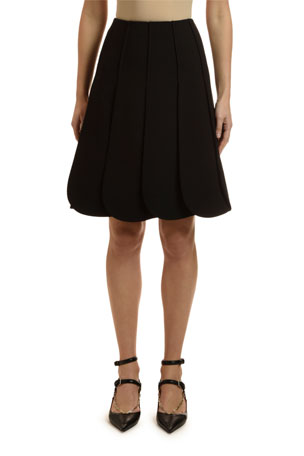 Valentino Crepe Petal-Pleated Skirt