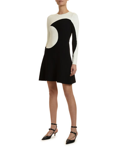 Long-Sleeve Moon-Inlay Dress