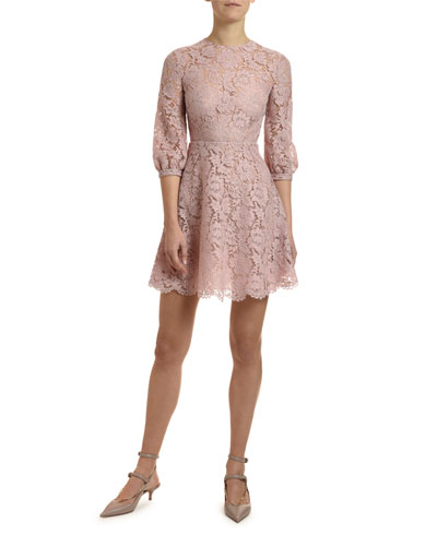 3/4-Sleeve Heavy Lace Dress