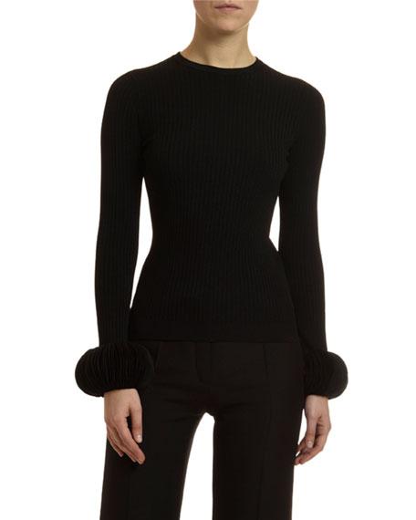 Valentino Disc-Cuff Crewneck Sweater